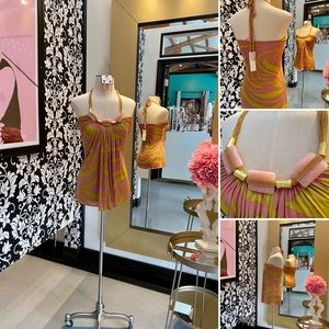 🌺 Sky  Pink &Mustard Gold Silk Top - Halter Style